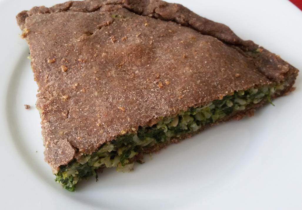 Torta salata riso integrale e spinaci