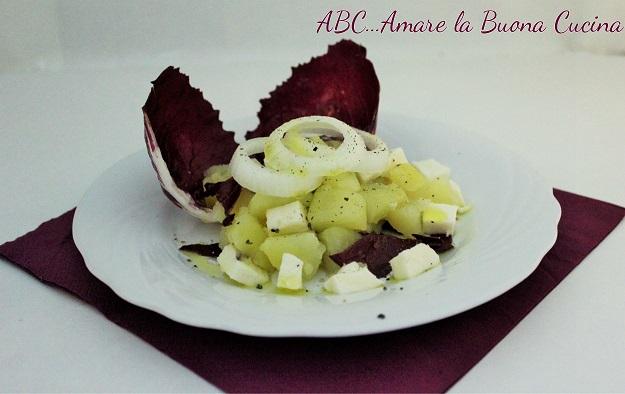insalata di radicchio rosso, patate, cipolla e mozzarella