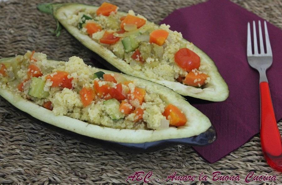 melanzane ripiene di cous cous alle verdure