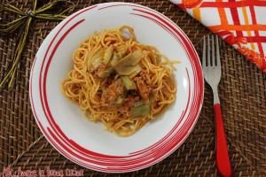 spaghetti con tonno e carciofi 2