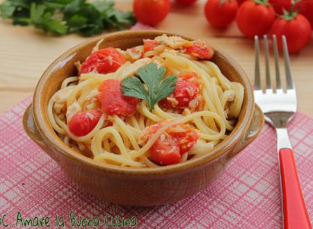 Spaghetti con spigola e pomodorini