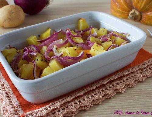 Zucca, patate e cipolle al forno