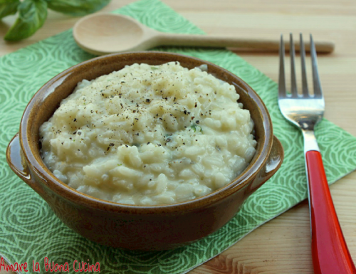 Risotto con gorgonzola e basilico