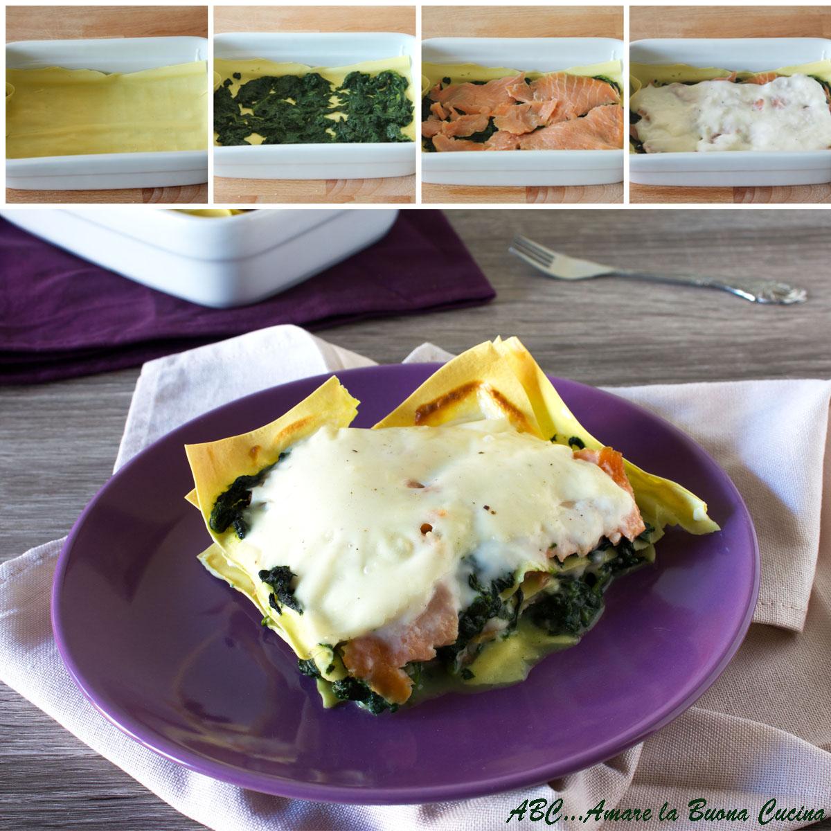 lasagne con spinaci e salmone collage