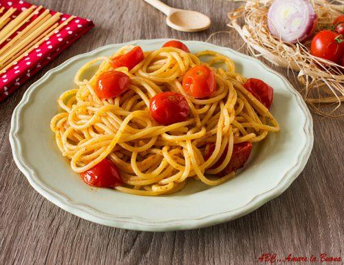 Spaghetti con bottarga e pomodorini