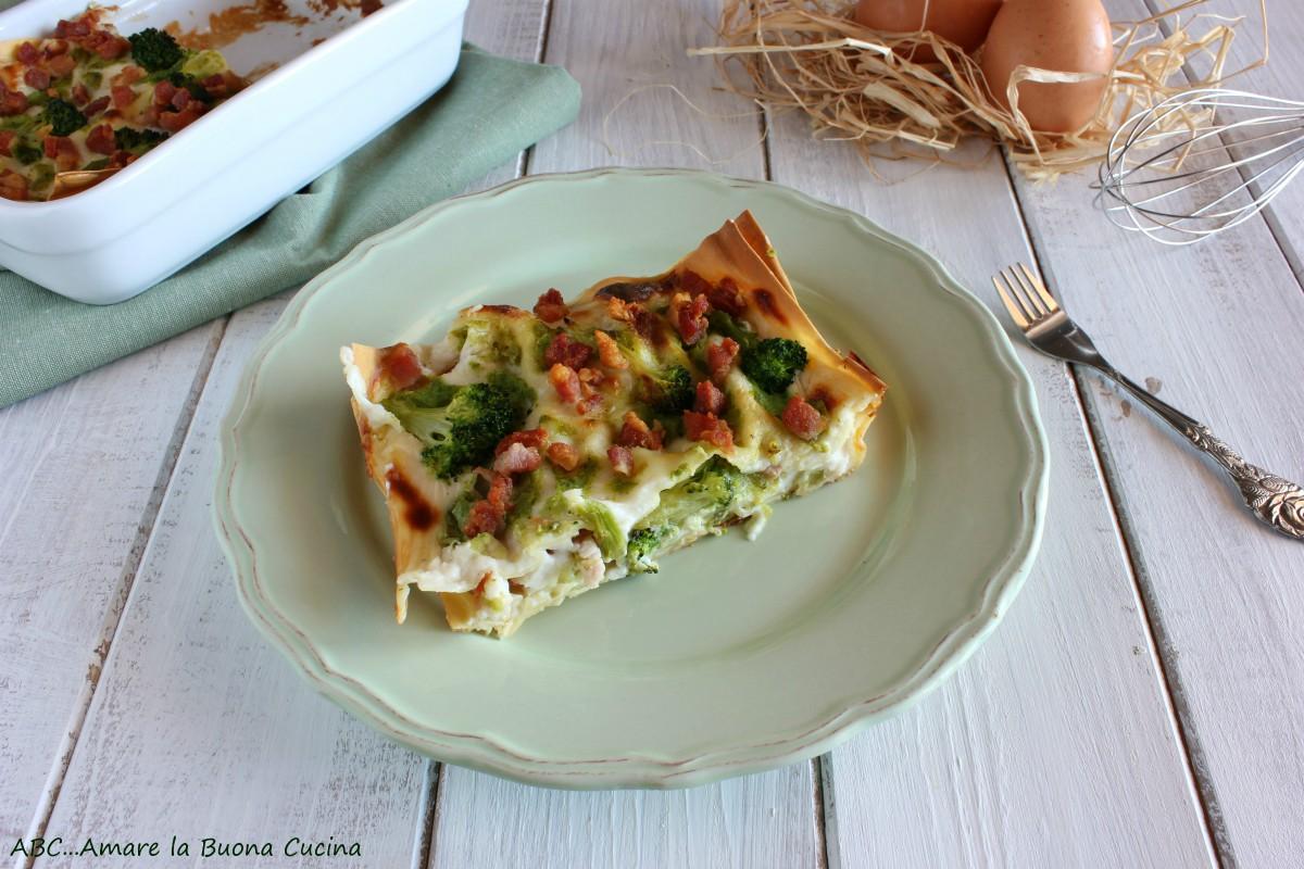 lasagne con broccoli e pancetta