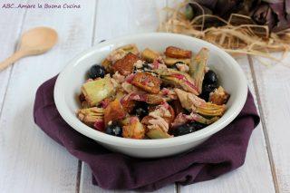 insalata di carciofi, patate e tonno
