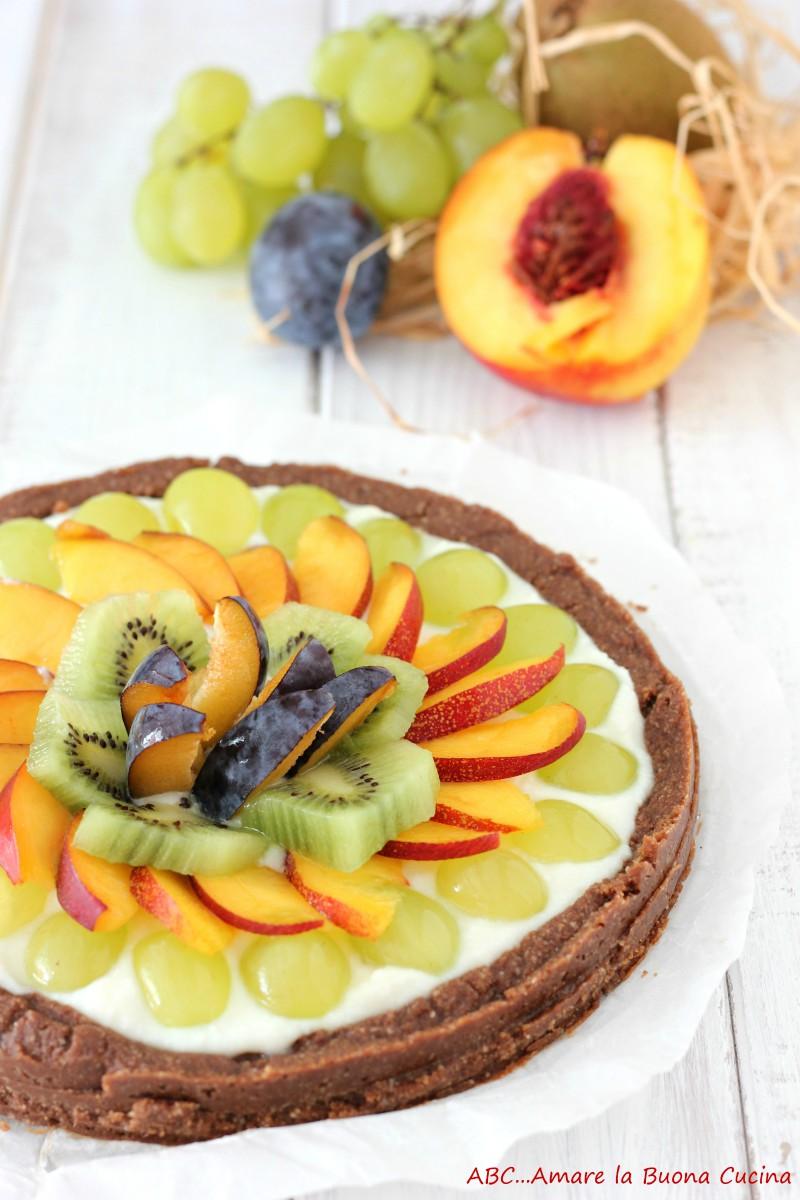 crostata senza cottura con crema di ricotta e frutta 2
