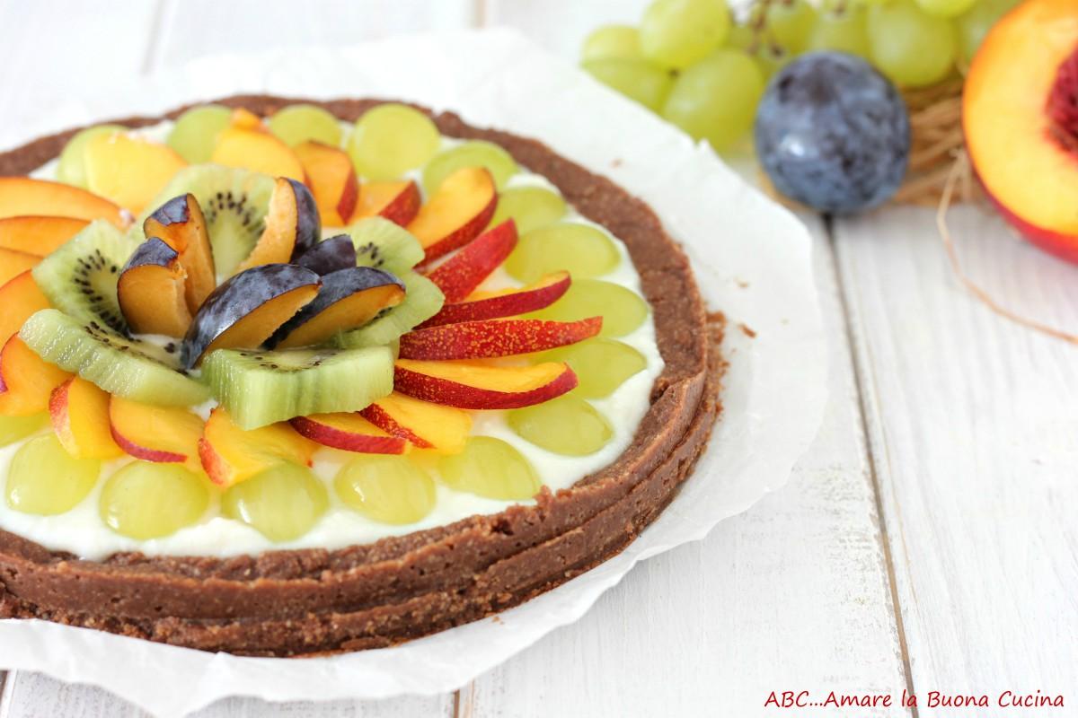 crostata senza cottura con crema di ricotta e frutta fresca