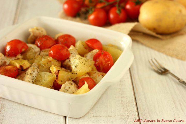 bocconcini di pollo al forno con patate