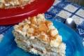 Torta mimosa senza cottura con pesche sciroppate