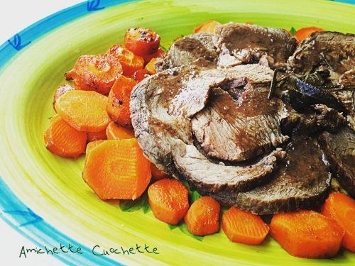Arrosto di vitello fruttato con  carote