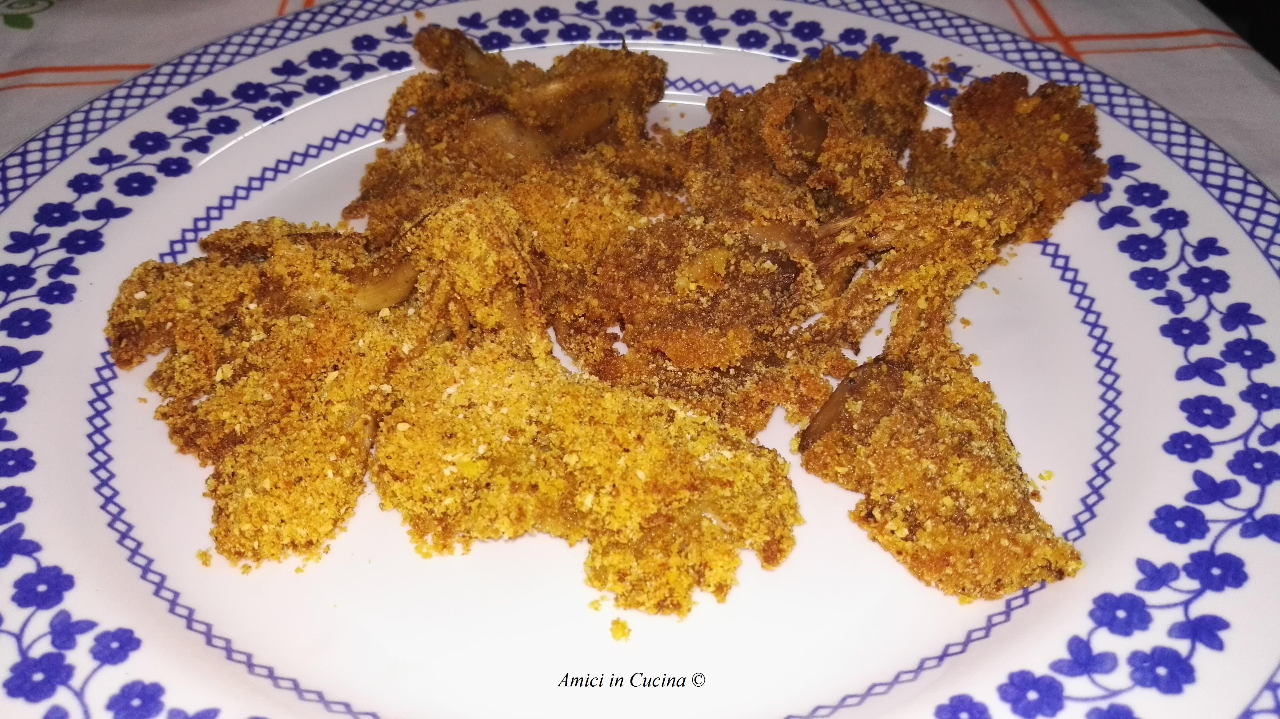 Funghi Pleurotus ostreatus panati al forno
