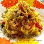 Tagliatelle con gamberetti, zucchine, pomodorini e pistacchio – Christine C.