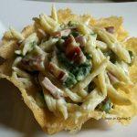 Trofie pancetta zucchine e panna su cialda di parmigiano – Ivana R.