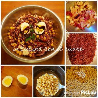Insalata di riso rosso con ceci, cipolla di Tropea ed uova
