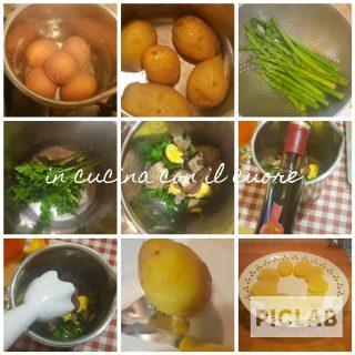 Uova sode e insalata di patate ed asparagi in salsa verde al balsamico