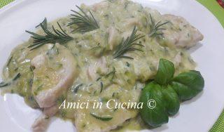 Straccetti di pollo con crema di zucchine