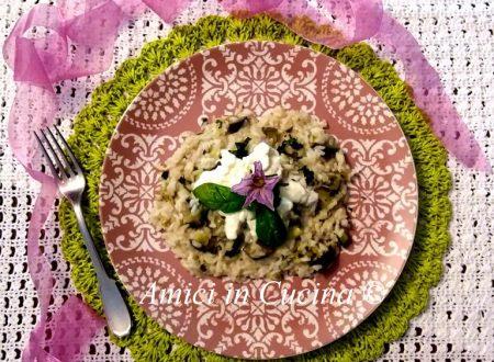 Risotto con la melanzana mozzarella al profumo di basilico fresco
