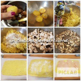 Rotolo di purè con petto di pollo e funghi