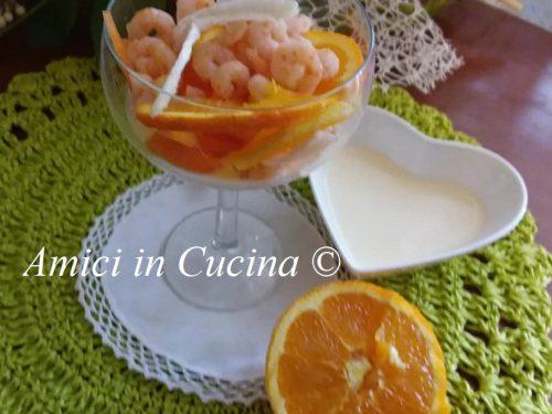 Gamberetti finocchi e carote su maionese all'arancia