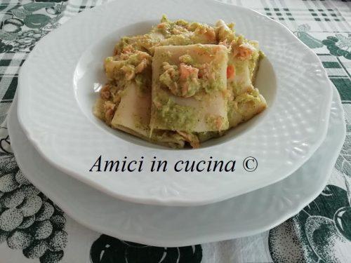Paccheri con crema di broccoletto e salmone