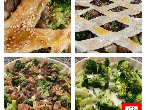 Finta Crostata con broccoli funghi e petto di pollo