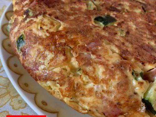 Frittata di pane raffermo zucchine mortadella e provola