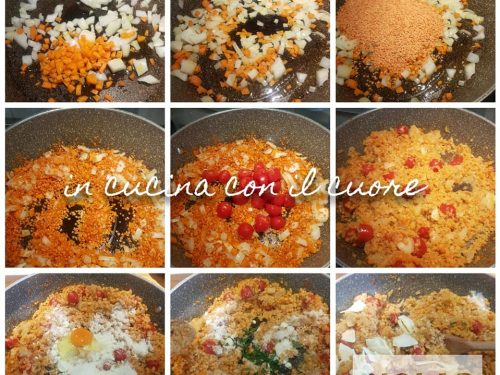 Peperoni al forno con lenticchie rosse