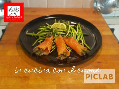 Salmone con carpaccio di asparagi