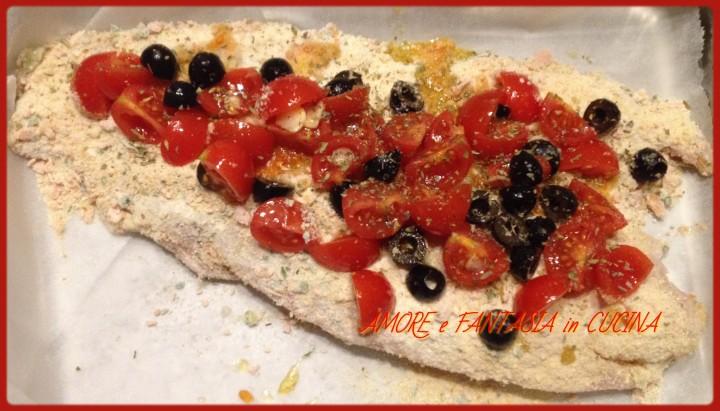 persico al forno con olive nere e pachino