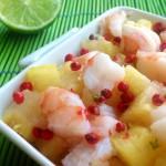 Ananas con mazzancolle,lime e pepe rosa