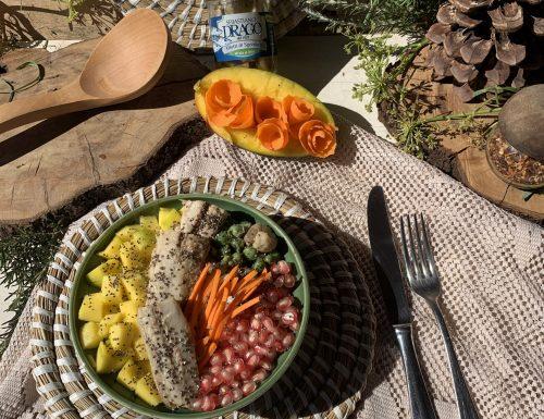 RISO COTTO AL  VAPORE, con frutta fresca e la bontà del filetto di  sgombro