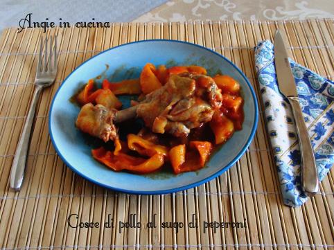 Cosce di pollo al sugo di peperoni