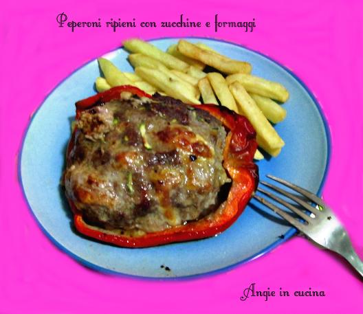 Peperoni ripieni con zucchine e formaggi
