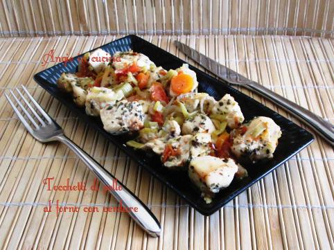 Tocchetti di pollo al forno con verdure