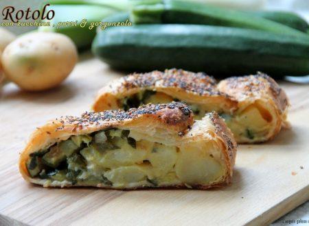 Rotolo salato con zucchine, porri e gorgonzola