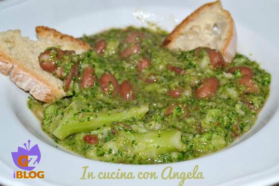 Zuppa di fagioli borlotti e broccoli