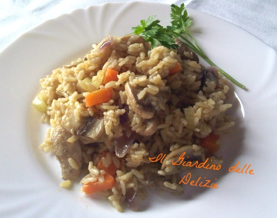 Riso integrale con funghi il giardino delle delizie - Cucinare riso integrale ...