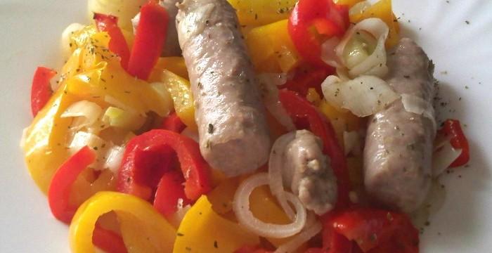 Salsicce ai porri e cipollotti