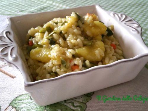 Risotto prosciutto patate e zucchine