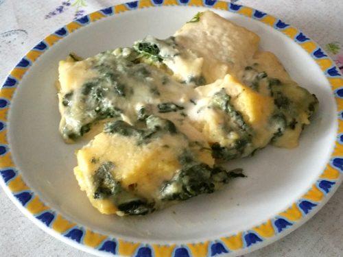 Lasagna di polenta con spinaci