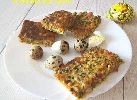 Torta piselli soia e pancetta al forno