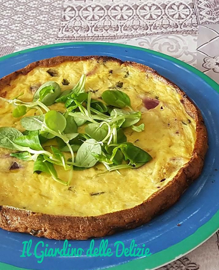 Frittata con valeriana e cipolle al forno