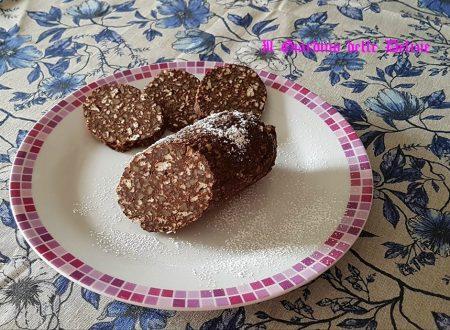 Salame al cioccolato con gallette di riso