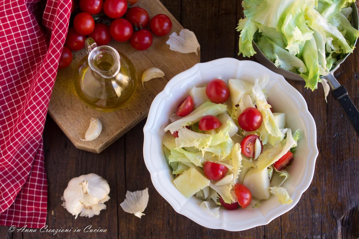 insalata di scarole patate e pomodorino del piennolo