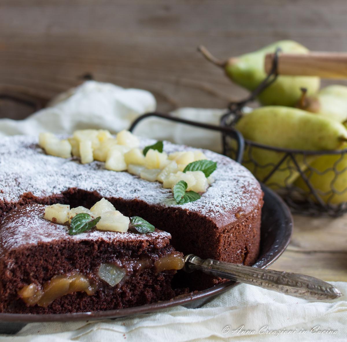torta versata cioccolato e pere
