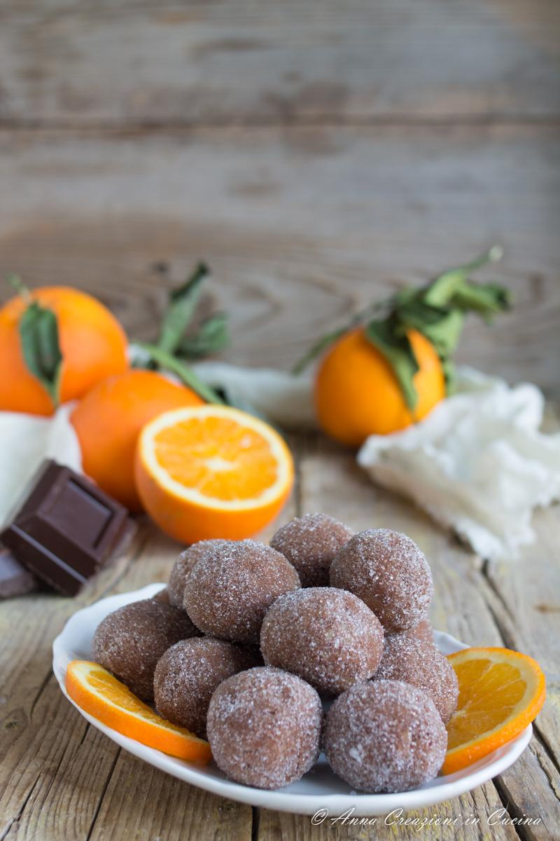 tartufini all'arancia e cioccolato