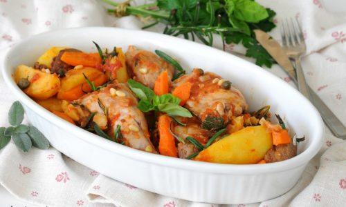 Coniglio con patate e carote