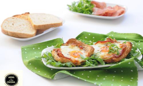 Cestini di pancarrè con speck e uova